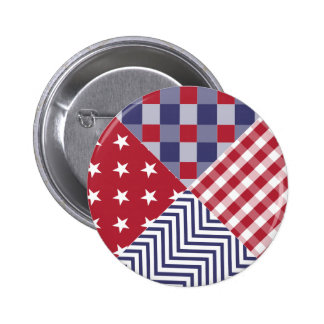 USA Americana Diagonal Red White & Blue Quilt 2 Inch Round Button