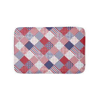 USA Americana Diagonal Red White & Blue Quilt Bathroom Mat