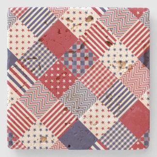 USA Americana Diagonal Red White & Blue Quilt Stone Coaster