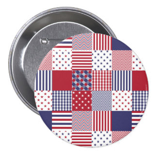 USA Americana Patchwork Red White & Blue 3 Inch Round Button
