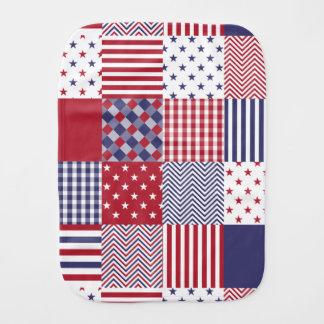 USA Americana Patchwork Red White & Blue Baby Burp Cloth