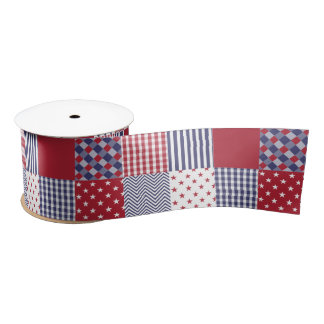 USA Americana Patchwork Red White & Blue Satin Ribbon