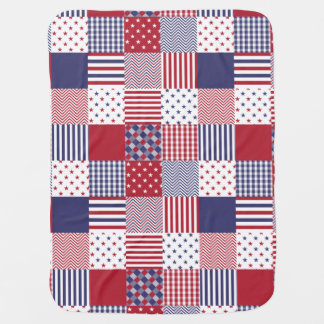 USA Americana Patchwork Red White & Blue Swaddle Blankets