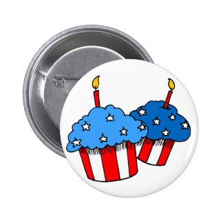 USA-An American Cupcake Birthday 2 Inch Round Button
