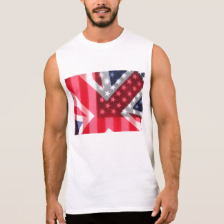 USA and British flags transparent Sleeveless Shirt