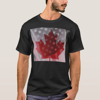 USA and Canada flags basic dark t-shirt