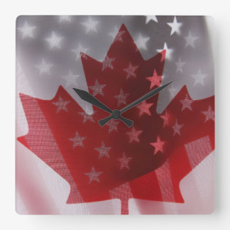 USA and Canada flags clock