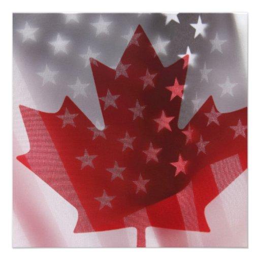 USA and Canada flags square invitation