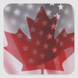 USA and Canada flags square sticker