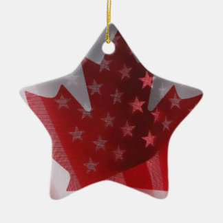 USA and Canada flags star ornament
