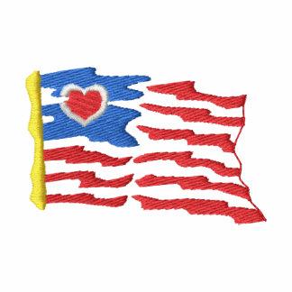 USA and Flag Embroidered T-shirt
