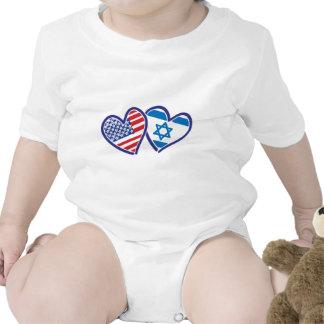 USA and Israel Heart Flag Bodysuit