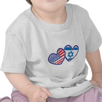USA and Israel Heart Flag Tee Shirts