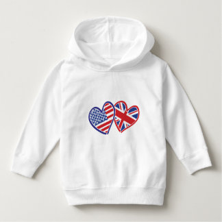 USA and UK Flag Hearts Hoodie