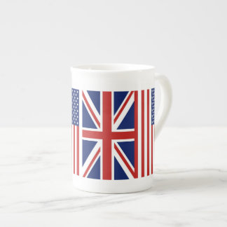 USA and UK Flags. Tea Cup