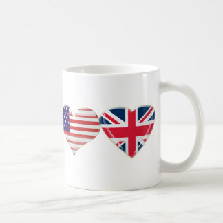USA and UK Heart Flag Design Coffee Mug