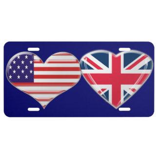 USA and Union Jack Heart Flag License Plate