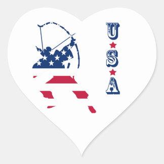 USA Archery American archer flag Heart Sticker