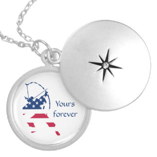 USA Archery American archer flag Locket Necklace