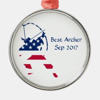 USA Archery American archer flag Metal Ornament