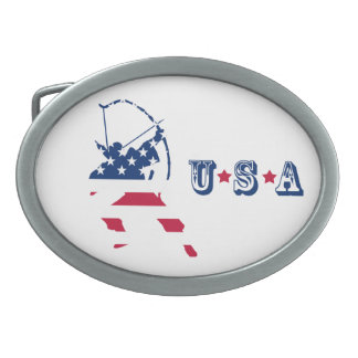 USA Archery American archer flag Oval Belt Buckle