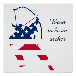 USA Archery American archer flag Poster
