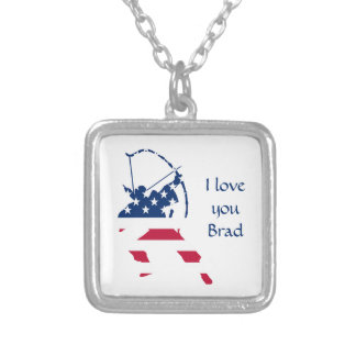 USA Archery American archer flag Silver Plated Necklace