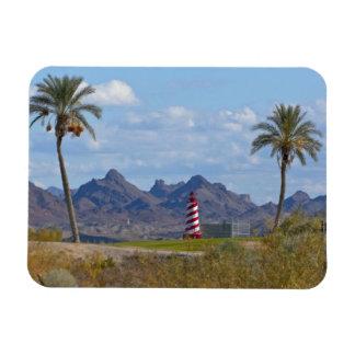 USA, Arizona, Lake Havasu City. Lighthouse next Rectangular Photo Magnet