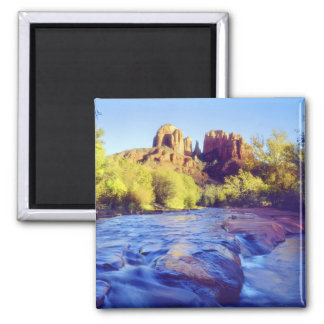 USA, Arizona, Sedona. Cathedral Rock reflecting 2 Square Magnet