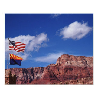USA, Arizona, Tow flags in Grand Canyon National Poster