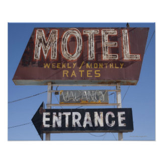 USA, Arizona, Winslow, Old-fashioned motel sign Poster