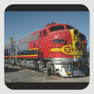 USA, AT & SF EMD F7A_Trains of the World Square Sticker