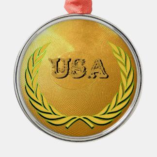 USA Award Silver-Colored Round Ornament
