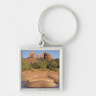 USA, AZ, Cathedral Rocks at Red Rock Crossing Silver-Colored Square Keychain
