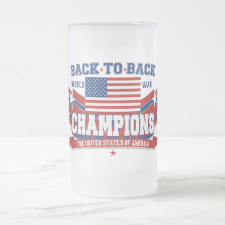 USA Back To Back Champions Frosted Beer Mugs