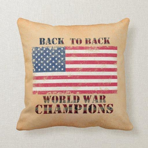 USA, Back to Back World War Champions Throw Pillow