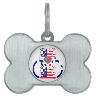 USA Beautiful Amazing Text Lovely Heart colors Art Pet Name Tag