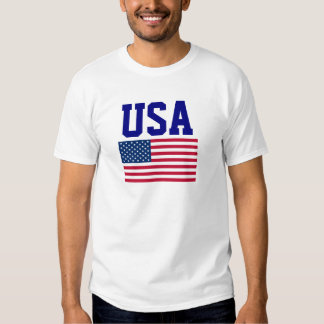 USA Blue Wording and United States of America Flag Tees