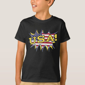 USA Boom Pop Pow flag star burst T-Shirt