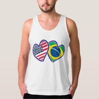 USA Brazil Heart Flags Tank Top