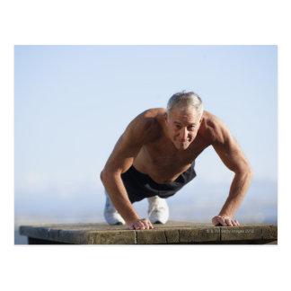 USA, California, Berkeley, Senior man exercising Postcard