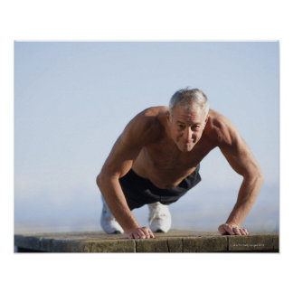 USA, California, Berkeley, Senior man exercising Poster