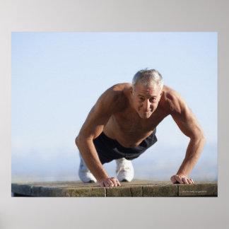 USA, California, Berkeley, Senior man exercising Poster