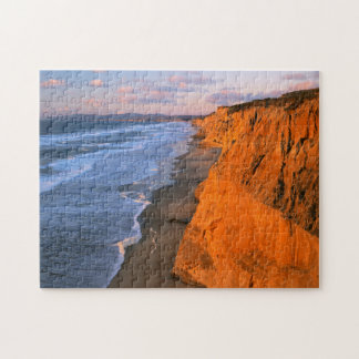 USA, California, Cliffs At Pescadero State Beach Jigsaw Puzzle