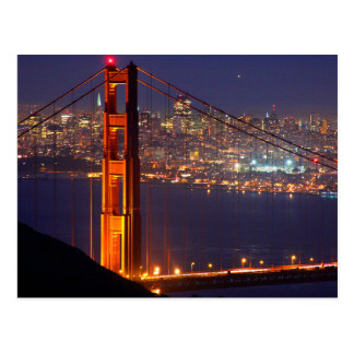 USA, California. Golden Gate Bridge At Night Postcard