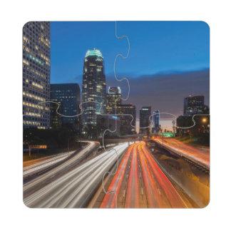 USA, California, Los Angeles, 110 Freeway 2 Drink Coaster Puzzle