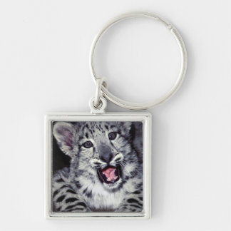 USA, California, Los Angeles County. Close-up Silver-Colored Square Keychain