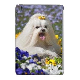 USA, California. Maltese Lying In Flowers iPad Mini Retina Cases