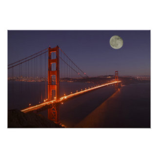 USA, California, Marin. Moonrise above the Poster