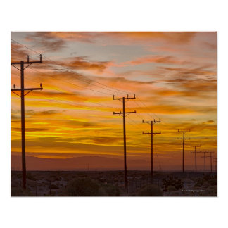 USA, California, Palm Springs, power line at 2 Poster
